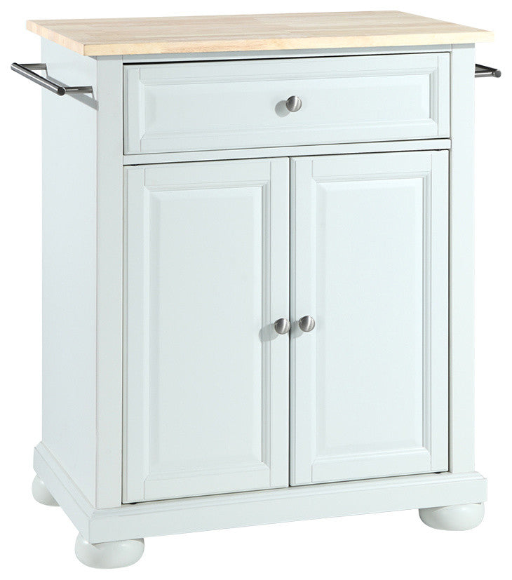 Alexandria Natural Wood Top Kitchen Island, White Finish - Pot Racks Plus