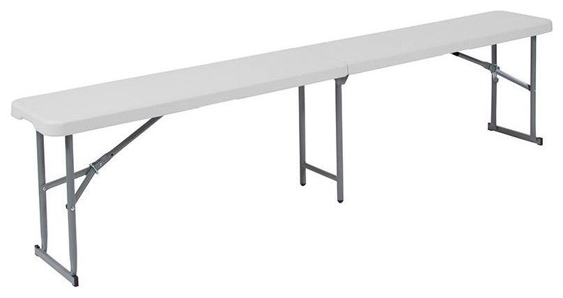 10.25''W x 71''L Bi-Fold Granite White Plastic Bench with Carrying Handle