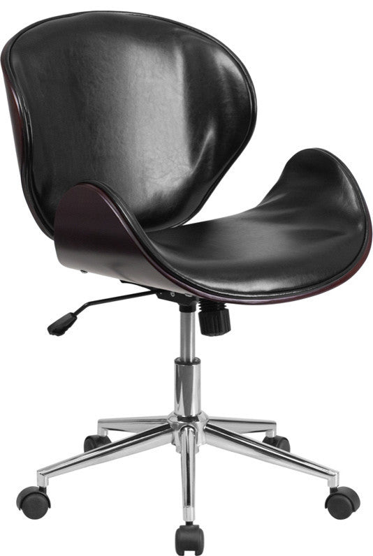 Mid-Back Mahogany Wood Conference Office Chair in Black LeatherSoft