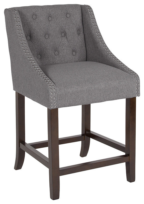 "Flash Furniture Carmel Series 24"" High Transitional Tufted Walnut Counter Height Stool with Accent Nail Trim in Dark Gray Fabric - Pot Racks Plus"