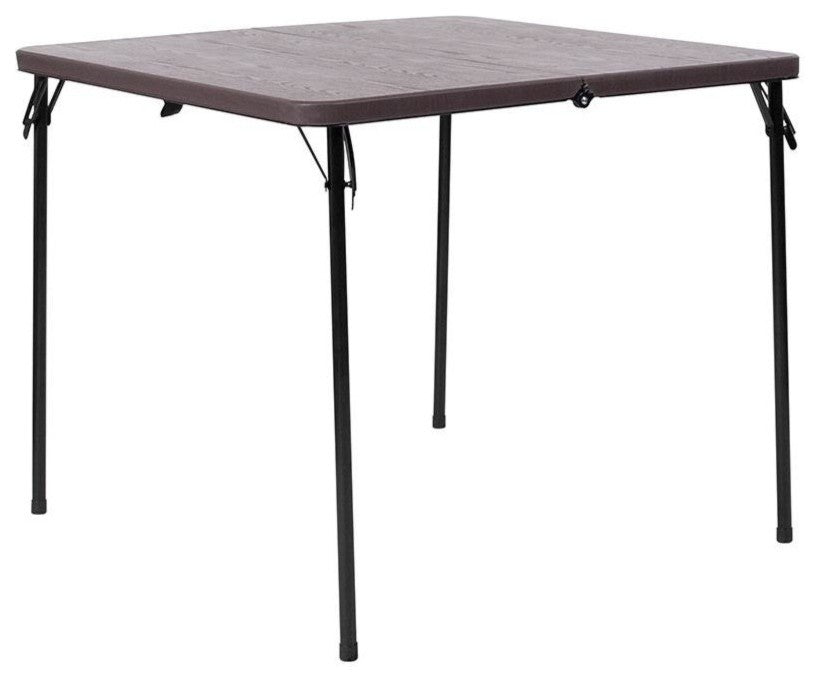 3-Foot Square Bi-Fold Brown Wood Grain Plastic Folding Table with Carrying Handle