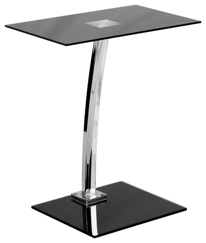 Laptop Computer Desk with Silk Black Tempered Glass Top