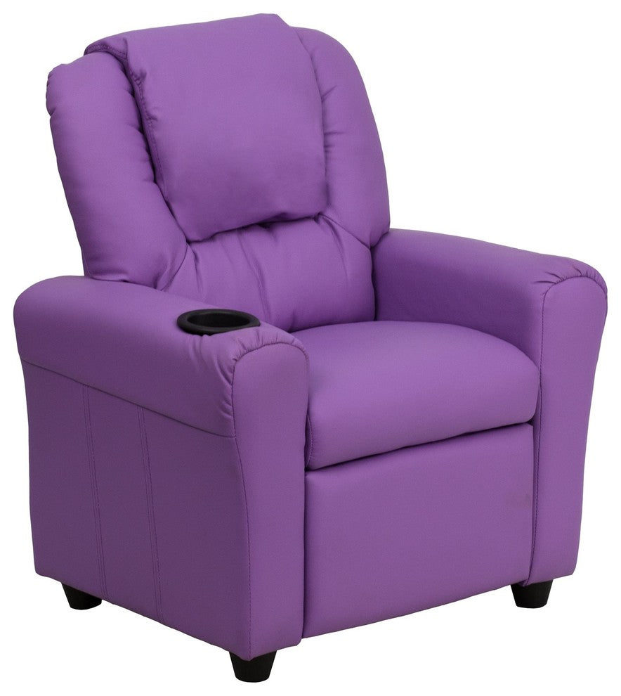 Flash Furniture   Contemporary Lavender Vinyl Kids Recliner with Cup Holder and Headrest - Pot Racks Plus