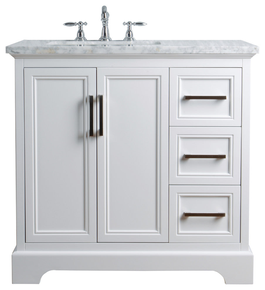 "Ariane 36"" White Single Vanity Cabinet Single Bathroom Sink - Pot Racks Plus"