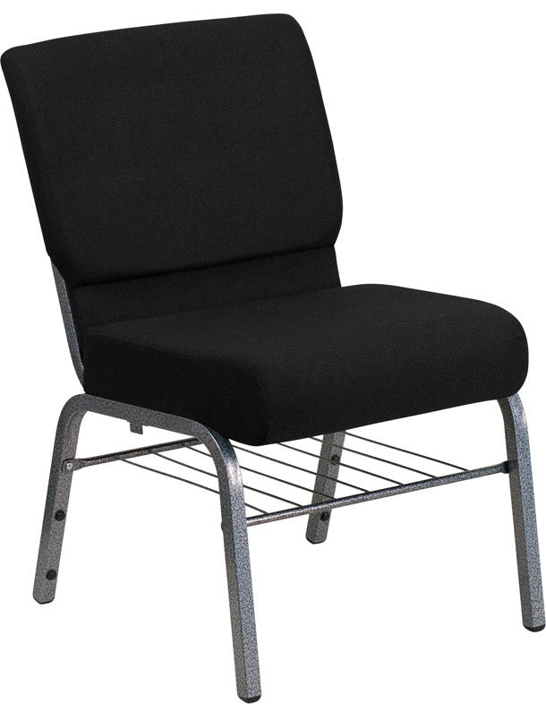 HERCULES Series 21''W Church Chair in Black Fabric with Book Rack - Silver Vein Frame