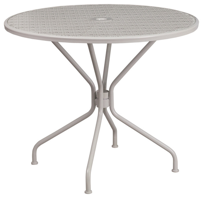 "Commercial Grade 35.25"" Round Light Gray Indoor-Outdoor Steel Patio Table"