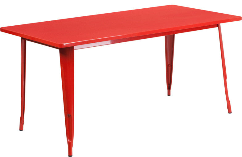 "Commercial Grade 31.5"" x 63"" Rectangular Red Metal Indoor-Outdoor Table"