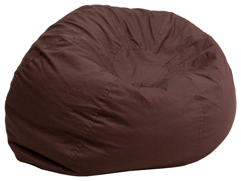 Flash Furniture   Oversized Solid Brown Bean Bag Chair for Kids and Adults - Pot Racks Plus