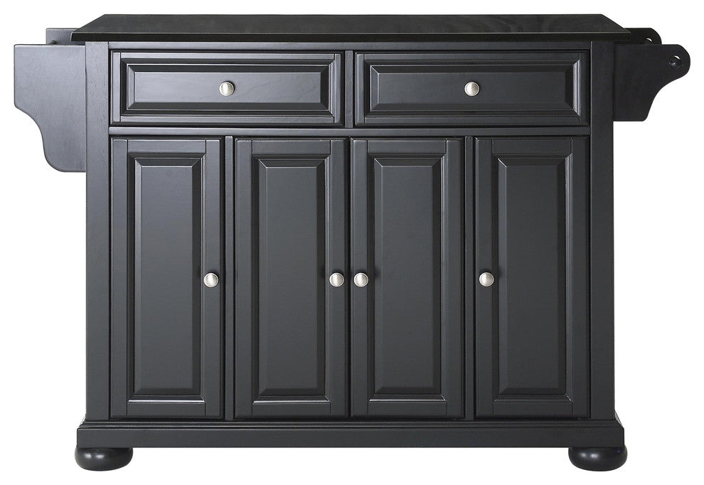 Alexandria Solid Black Granite Top Kitchen Island, Black Finish - Pot Racks Plus