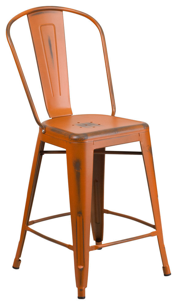 "Commercial Grade 24"" High Distressed Orange Metal Indoor-Outdoor Counter Height Stool with Back"