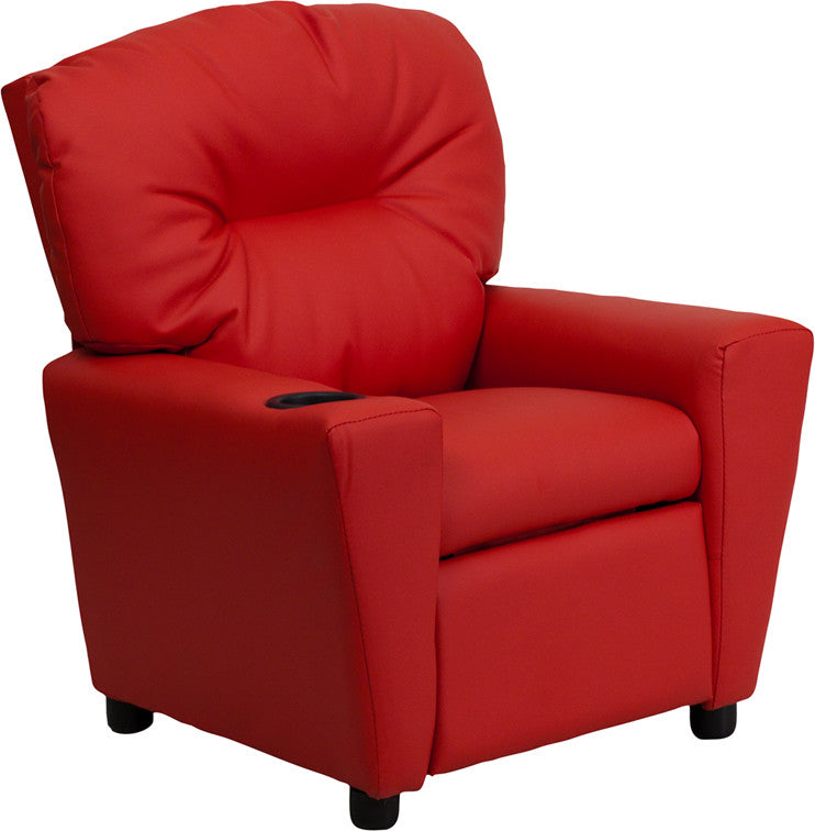 Flash Furniture   Contemporary Red Vinyl Kids Recliner with Cup Holder - Pot Racks Plus