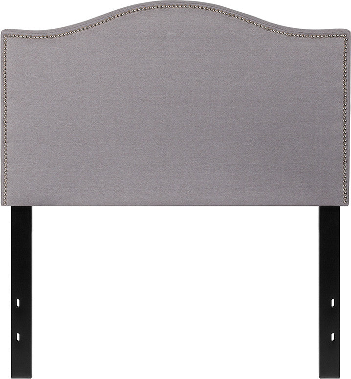 Lexington Upholstered Twin Size Headboard with Accent Nail Trim in Light Gray Fabric