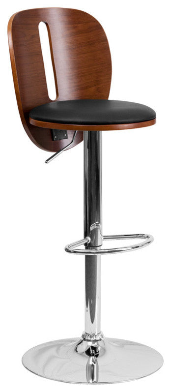 Walnut Bentwood Adjustable Height Barstool with Cutout Extended Back and Black Vinyl Seat
