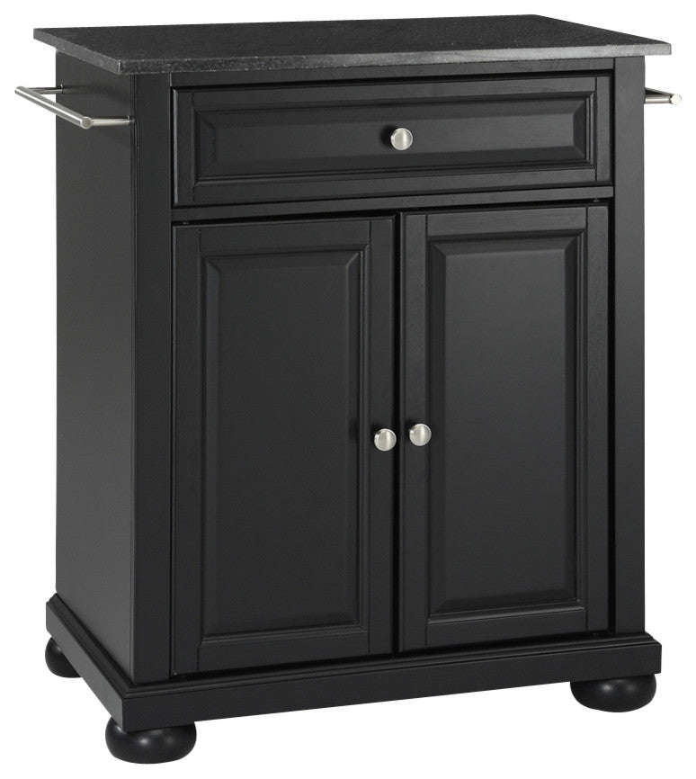 Alexandria Solid Black Granite Top Portable Kitchen Island, Black Finish - Pot Racks Plus