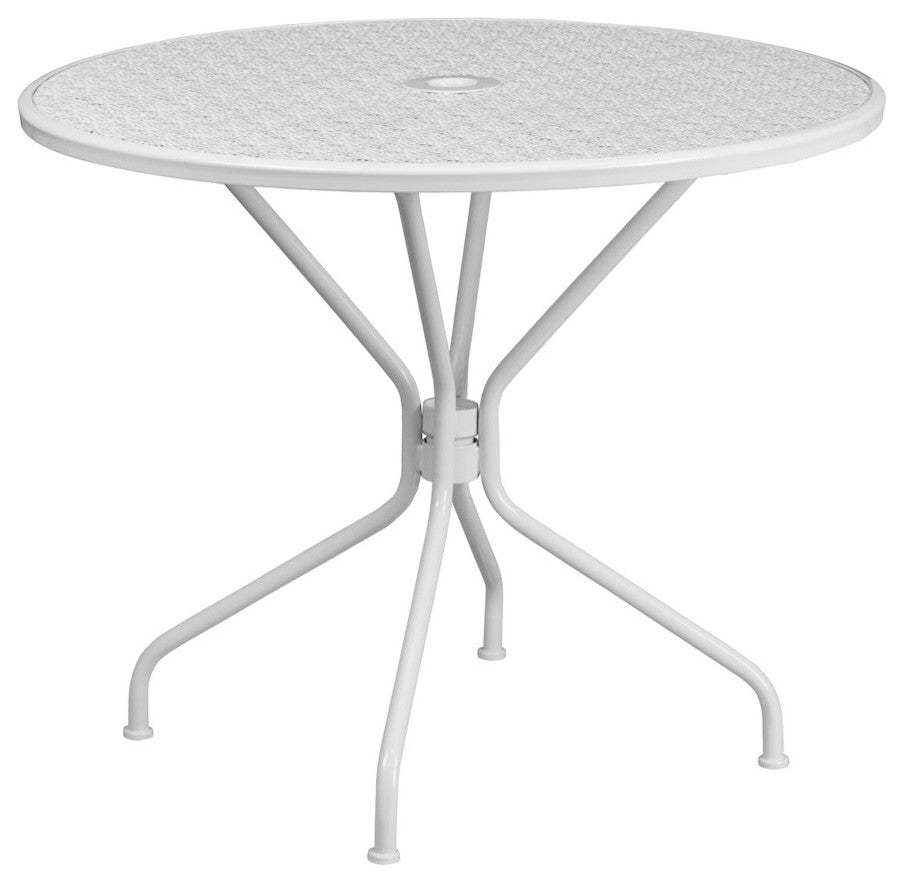 "Commercial Grade 35.25"" Round White Indoor-Outdoor Steel Patio Table"