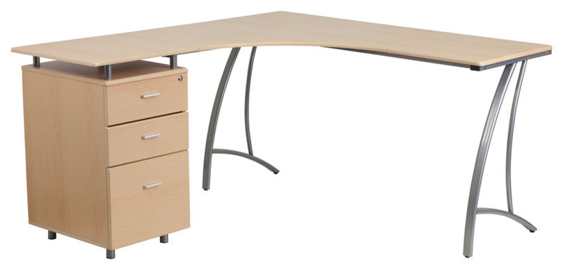Beech Laminate L-Shape Desk with Three Drawer Pedestal