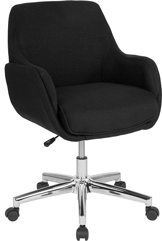 Rochelle Home and Office Upholstered Mid-Back Chair in Black Fabric