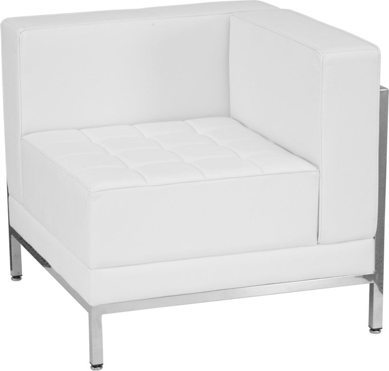 HERCULES Imagination Series Contemporary Melrose White LeatherSoft Right Corner Chair with Encasing Frame