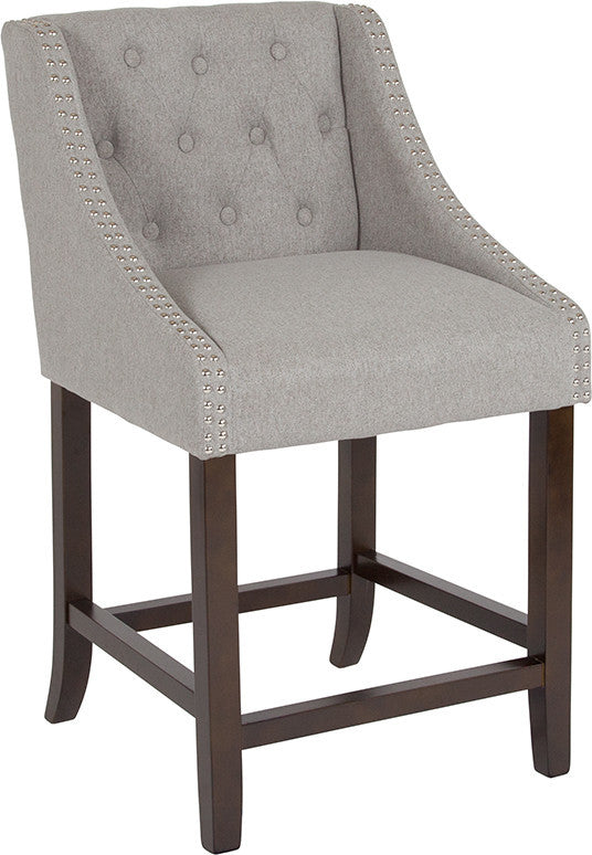 "Flash Furniture Carmel Series 24"" High Transitional Tufted Walnut Counter Height Stool with Accent Nail Trim in Light Gray Fabric - Pot Racks Plus"