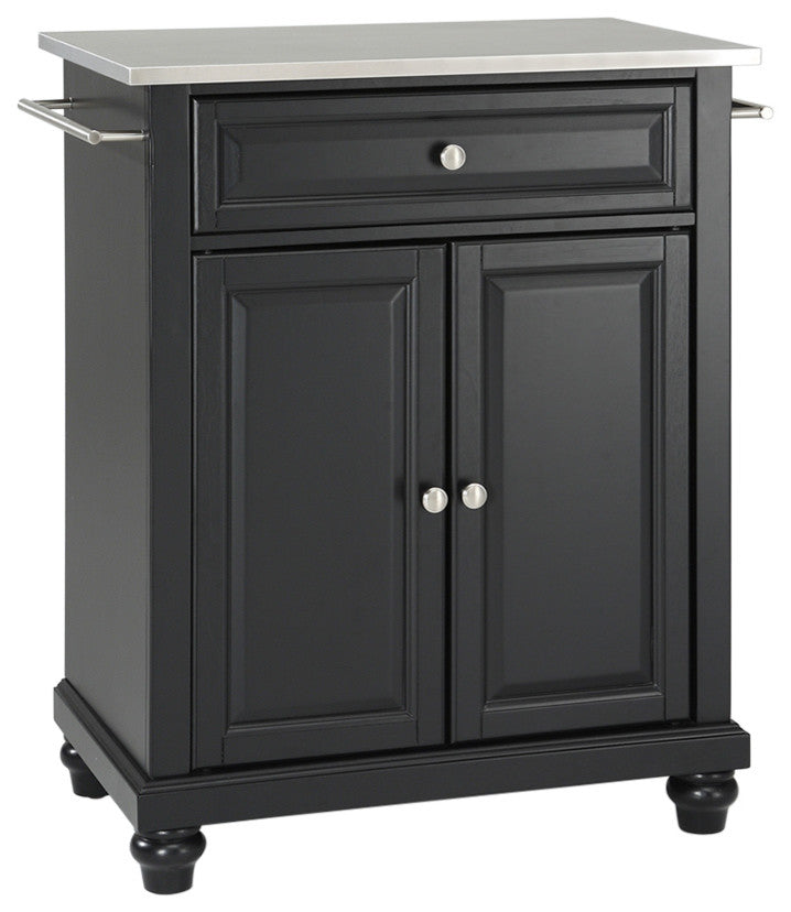 Cambridge Stainless Steel Top Portable Kitchen Island, Black Finish - Pot Racks Plus