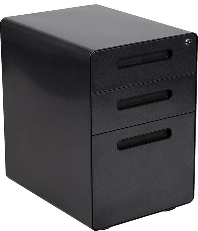 Ergonomic 3-Drawer Mobile Locking Filing Cabinet with Anti-Tilt Mechanism and Hanging Drawer for Legal & Letter Files, Black