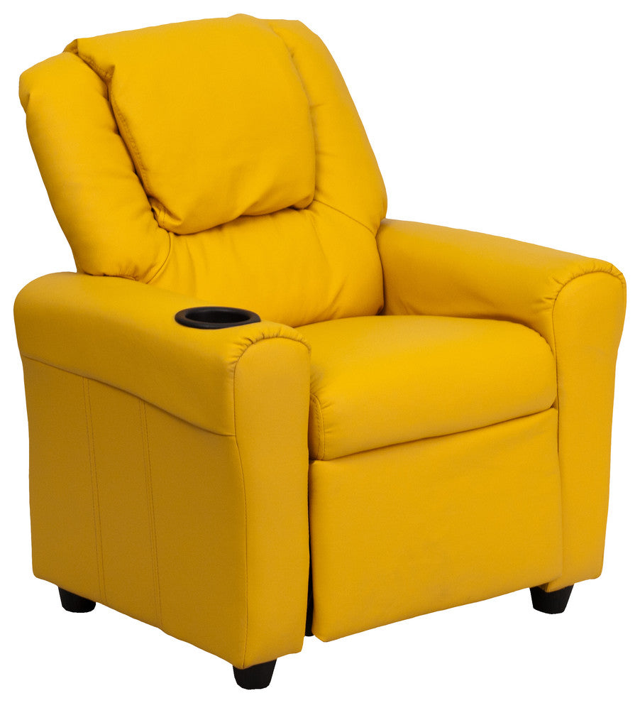 Flash Furniture   Contemporary Yellow Vinyl Kids Recliner with Cup Holder and Headrest - Pot Racks Plus