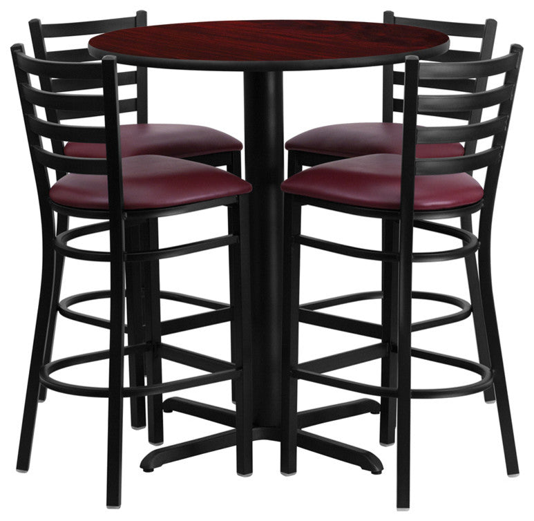 30'' Round Mahogany Laminate Table Set with X-Base and 4 Ladder Back Metal Barstools - Burgundy Vinyl Seat