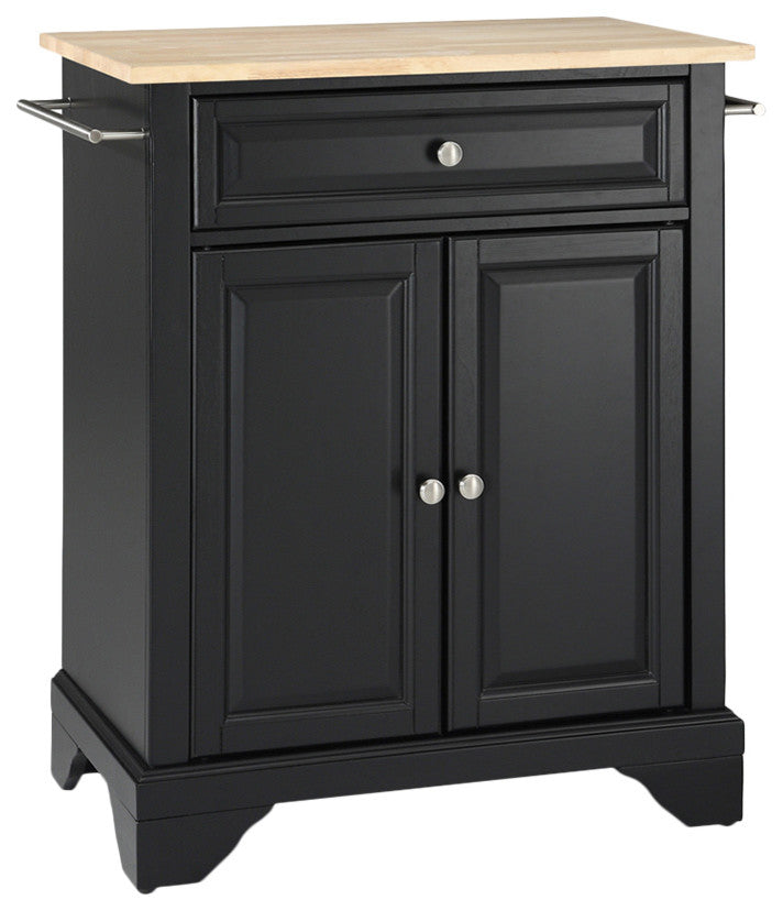 LaFayette Natural Wood Top Portable Kitchen Island, Black Finish - Pot Racks Plus