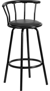 Crown Back Black Metal Barstool with Black Vinyl Swivel Seat
