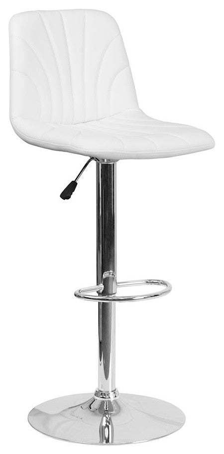 Contemporary White Vinyl Adjustable Height Barstool with Embellished Stitch Design and Chrome Base