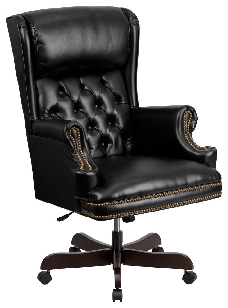 High Back Traditional Tufted Black LeatherSoft Executive Ergonomic Office Chair with Oversized Headrest & Nail Trim Arms