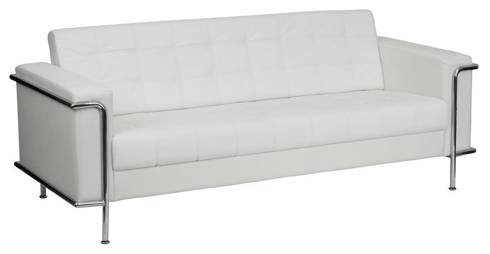 HERCULES Lesley Series Contemporary Melrose White LeatherSoft Sofa with Encasing Frame