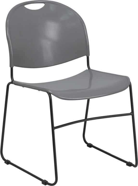 HERCULES Series 880 lb. Capacity Gray Ultra-Compact Stack Chair with Black Powder Coated Frame