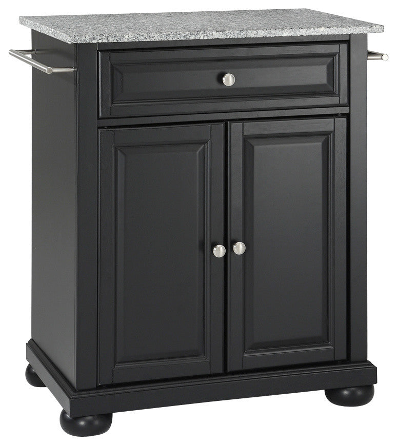 Alexandria Solid Granite Top Portable Kitchen Island, Black Finish - Pot Racks Plus