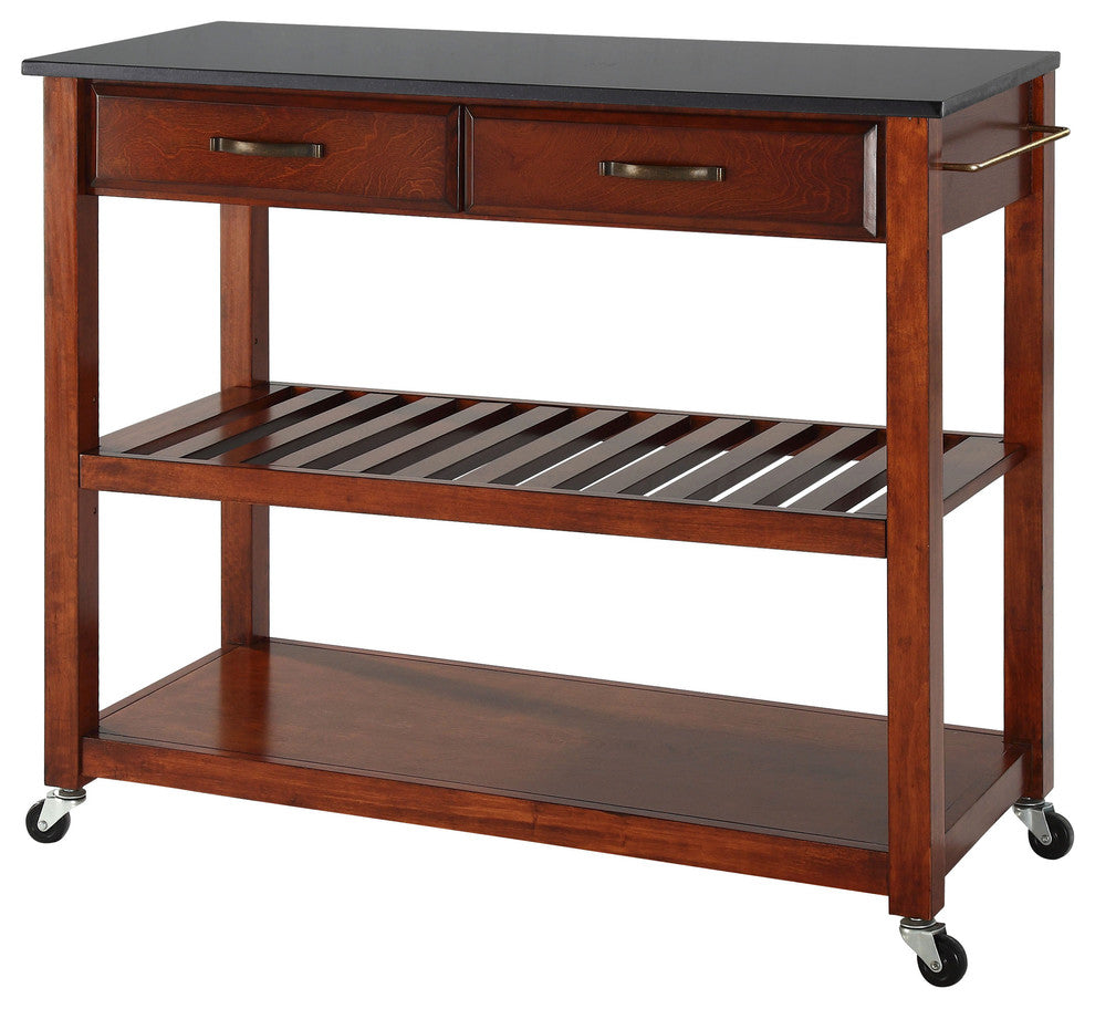 Solid Black Granite Top Kitchen Cart, Island, Cherry - Pot Racks Plus
