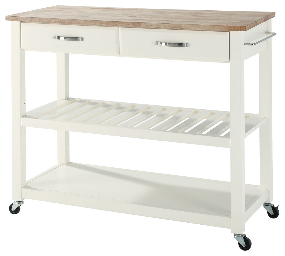 Natural Wood Top Kitchen Cart/Island With Optional Stool Storage, White Finish - Pot Racks Plus