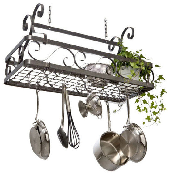 Decor Large Basket Pot Rack Hammered Steel - Pot Racks Plus