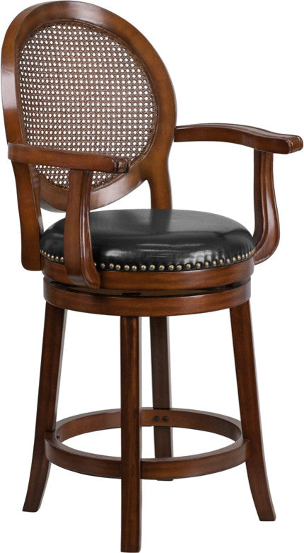 26'' High Expresso Wood Counter Height Stool with Arms, Woven Rattan Back and Black LeatherSoft Swivel Seat