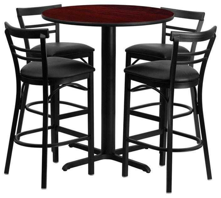 24'' Round Mahogany Laminate Table Set with X-Base and 4 Two-Slat Ladder Back Metal Barstools - Black Vinyl Seat