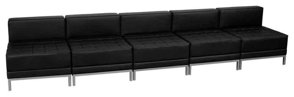 HERCULES Imagination Series Black LeatherSoft Lounge Set, 5 Pieces