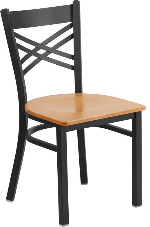 HERCULES Series Black ''X'' Back Metal Restaurant Chair - Natural Wood Seat