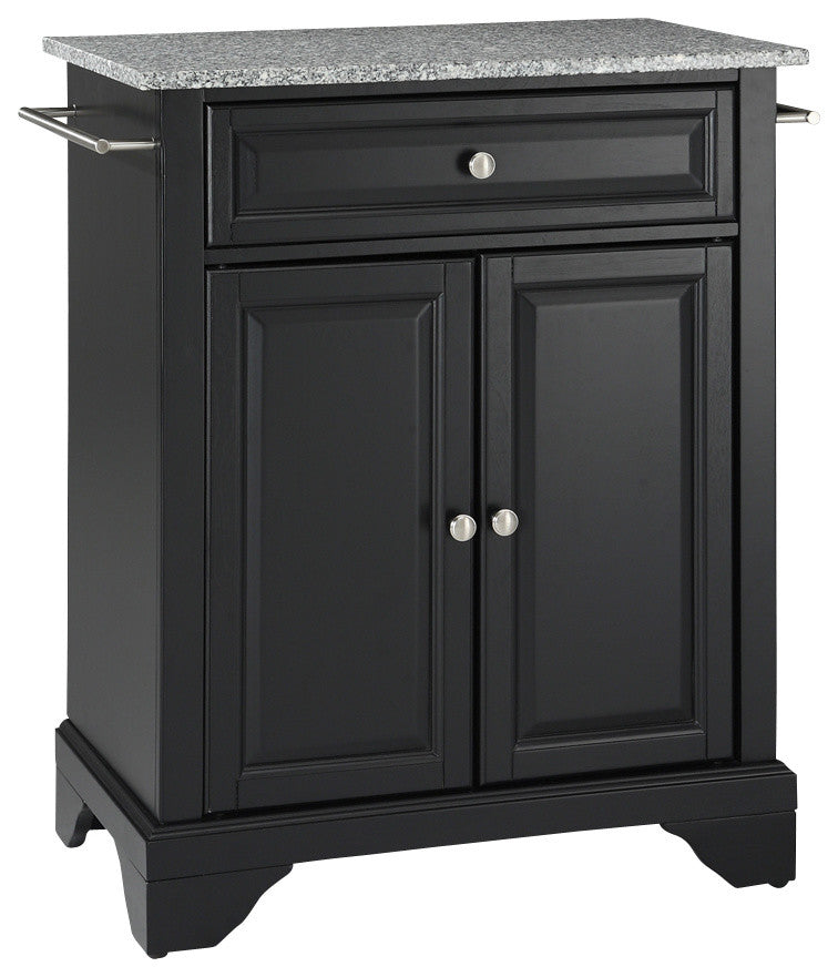 LaFayette Solid Granite Top Portable Kitchen Island, Black Finish - Pot Racks Plus