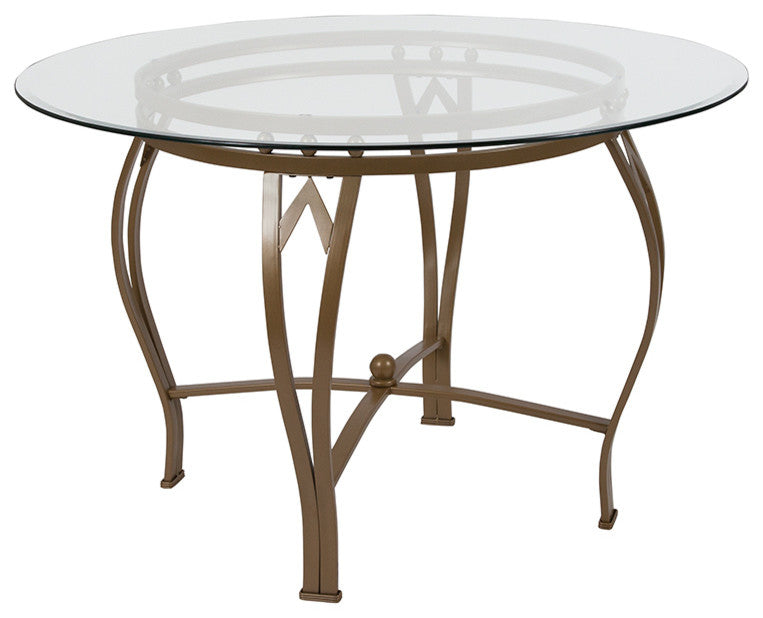Flash Furniture Syracuse 45'' Round Glass Dining Table with Matte Gold Metal Frame - Pot Racks Plus