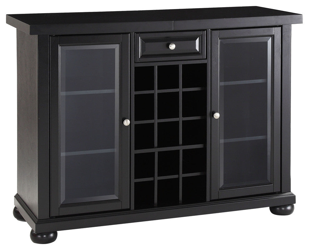 Alexandria Sliding Top Bar Cabinet, Black Finish - Pot Racks Plus