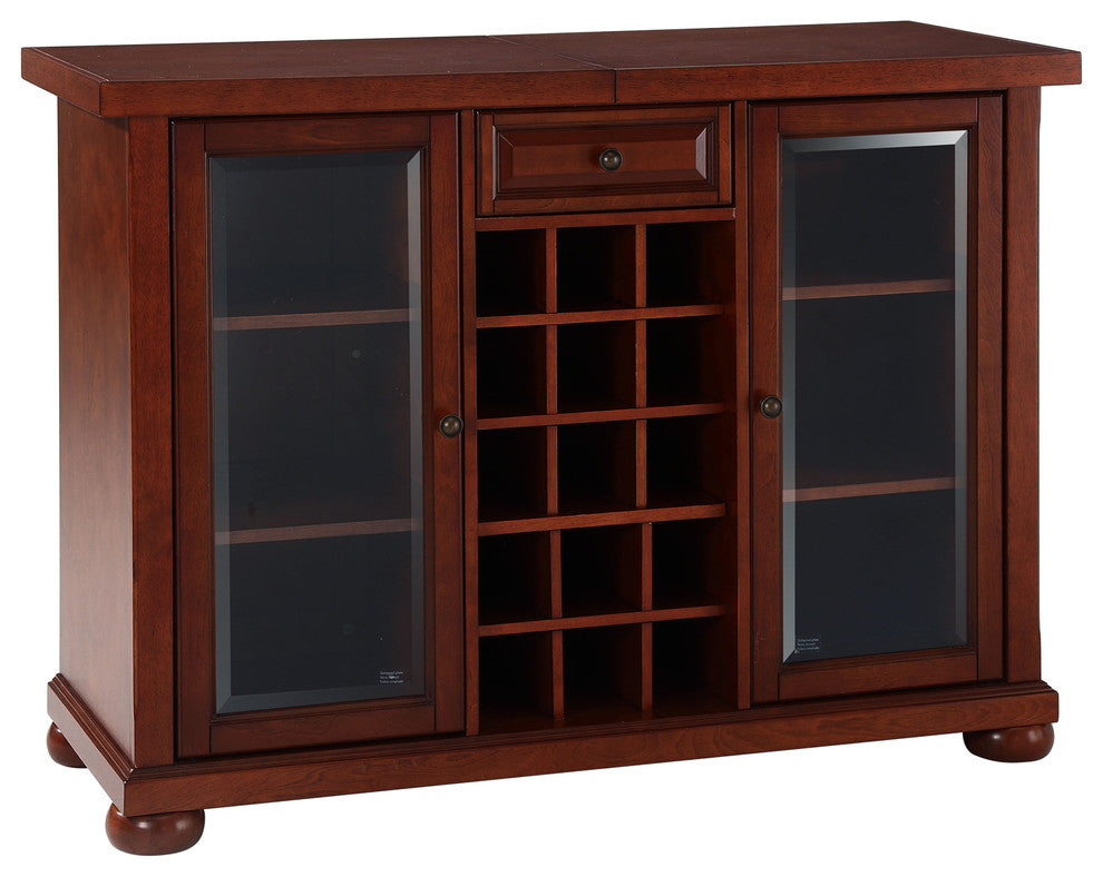 Alexandria Sliding Top Bar Cabinet, Vintage Mahogany Finish - Pot Racks Plus