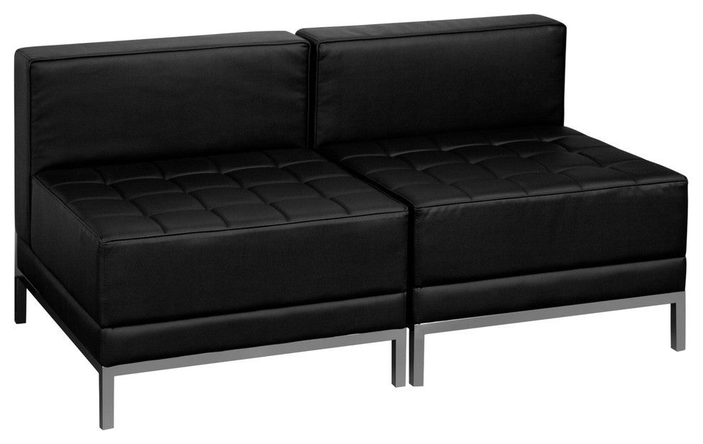 HERCULES Imagination Series Black LeatherSoft Lounge Set, 2 Pieces
