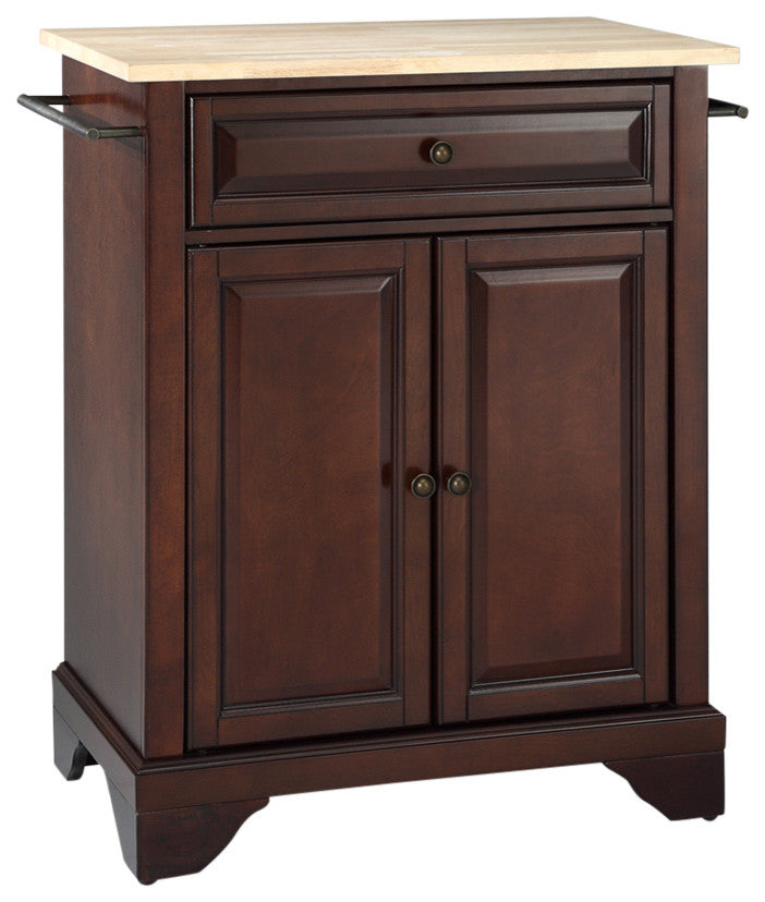 LaFayette Natural Wood Top Portable Kitchen Island, Vintage Mahogany Finish - Pot Racks Plus