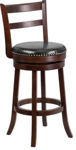 30'' High Cappuccino Wood Barstool with Single Slat Ladder Back and Black LeatherSoft Swivel Seat