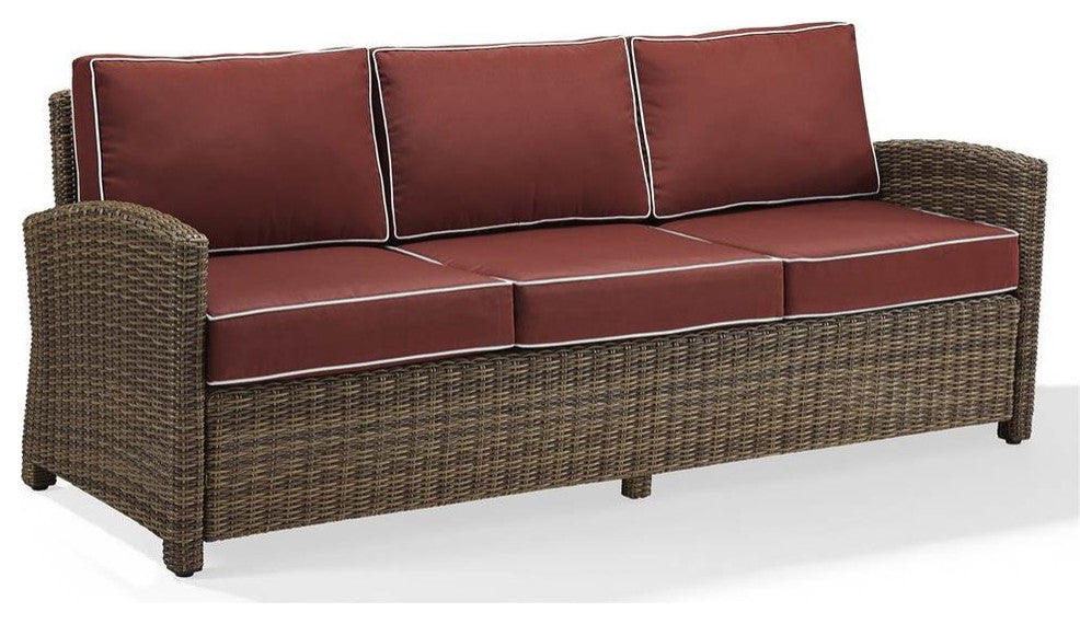 Bradenton Sofa With Cushions, Sangria - Pot Racks Plus