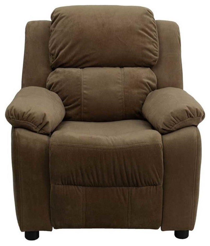 Flash Furniture   Deluxe Padded Contemporary Brown Microfiber Kids Recliner with Storage Arms - Pot Racks Plus